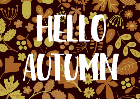 nodules: vector template of greeting card with Hello autumn text and floral background Illustration
