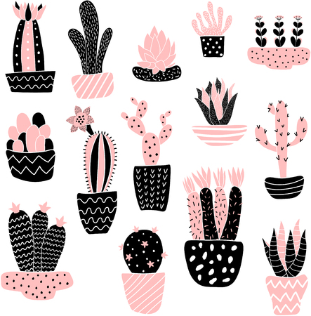 vector set of cute cacti illustration on isolated background