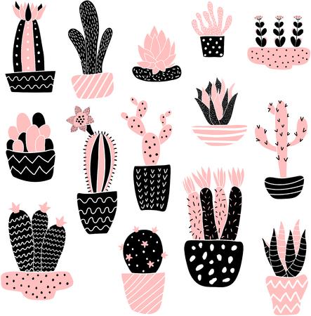 Conjunto de vectores de ilustración linda cactus en el fondo aislado Foto de archivo - 56021132