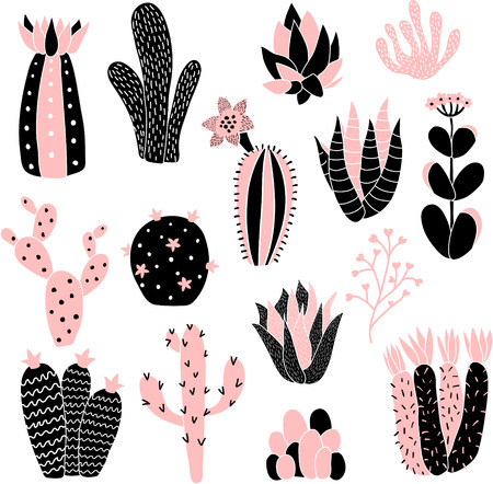 vector set of cute cacti on isolated background Иллюстрация