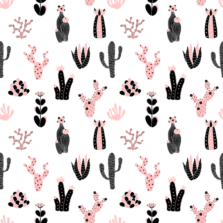 cute images: vector seamless pattern with cute cactuses images on isolated background