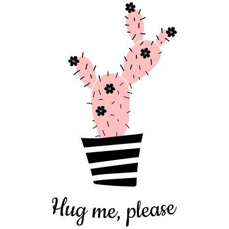 funny vector poster with illustration of cactus and hug me please, text Vettoriali