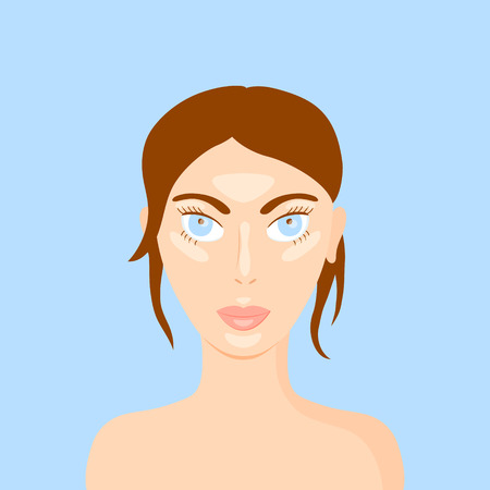 covering eyes: vector illustration of a woman face highlighting makeup trend - strobing Illustration