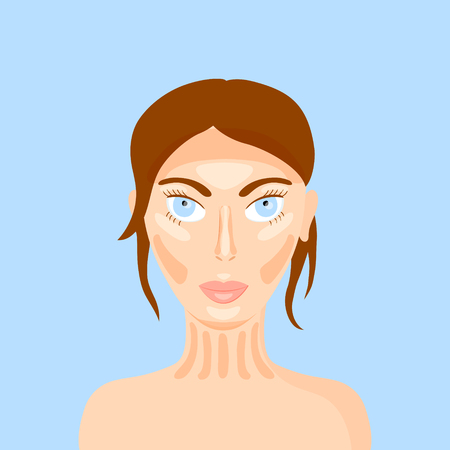 covering eyes: vector illustration of woman face highlighting the makeup trend - contouring Illustration