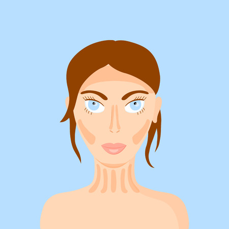 corrective: vector illustration of a woman face highlighting the makeup trend - contouring Illustration