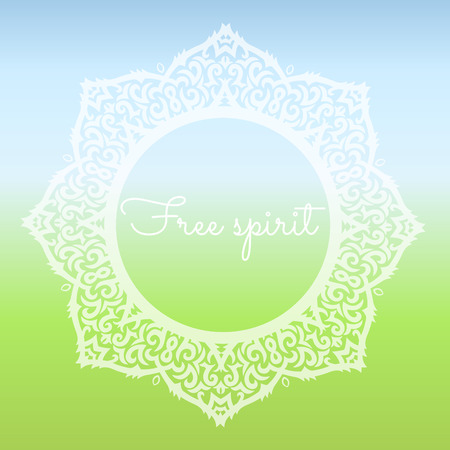 free spirit: mandala on a gradient background with free spirit text Illustration