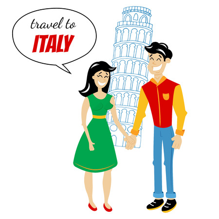 destination: vector illustration of a couple standing in front of a pisa tower, Italy travel destination, illustration in retro comics style Illustration