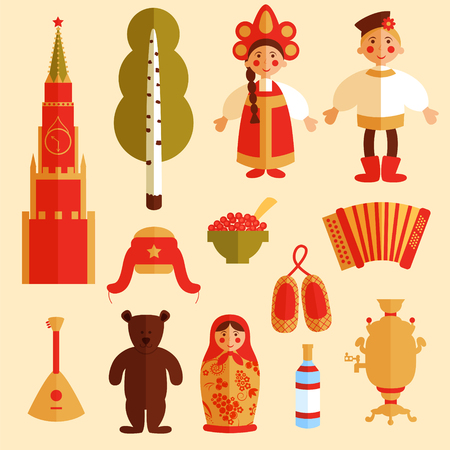 russian culture color thin line icons russian traditional symbols  set of russian icons traditional russian symbols russian culture vector