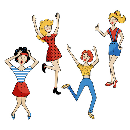 excitement: vector set of illustrations, set of cute girls drawn in retro comics style, pin-up women showing their excitement
