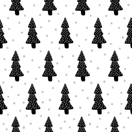 tress: vector seamless pattern with illustration of pine tress on isolated background Illustration
