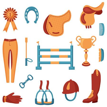vector conjunto de iconos relacionados con el deporte ecuestre en el fondo aislado