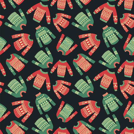 seamless pattern with illustration of cute hand drawn Christmas sweaters