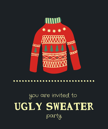 template of a funny Christmas party invitation with illustration of a sweater Иллюстрация