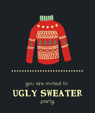 template van een grappige kerstfeest uitnodiging met illustratie van een trui Vector Illustratie