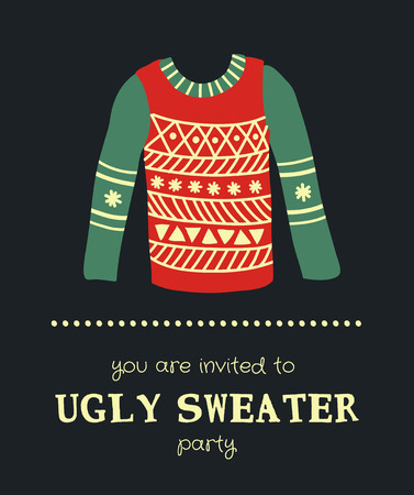 template of a Christmas greeting card, a sweater on a dark background