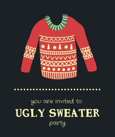 illustration of an ugly Christmas sweater on a dark background