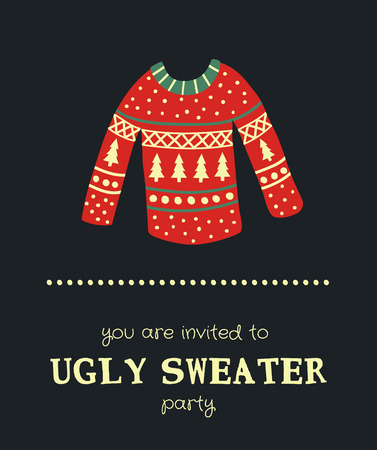 template of a Christmas card, illustration of a sweater and text on a dark background Ilustrace