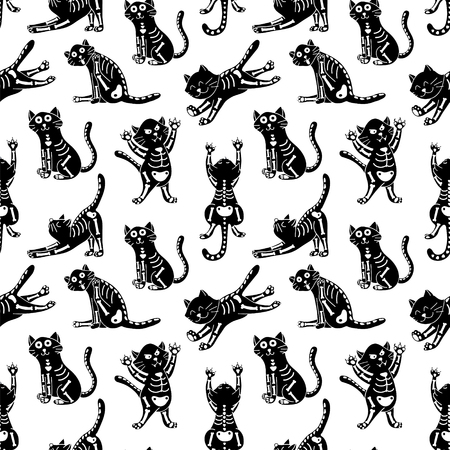 licking in isolated: seamless pattern with cute cats in monochrome color palette, Halloween theme print