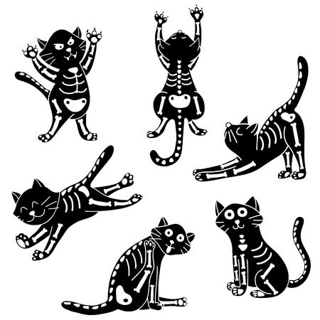 set of cats wearing Halloween costumes of skeleton
