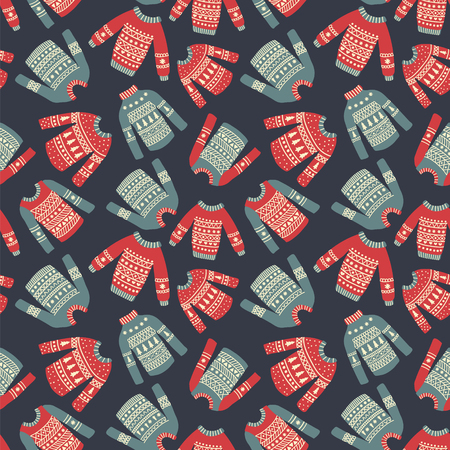 seamless pattern with cute hand drawn sweaters on dark blue background