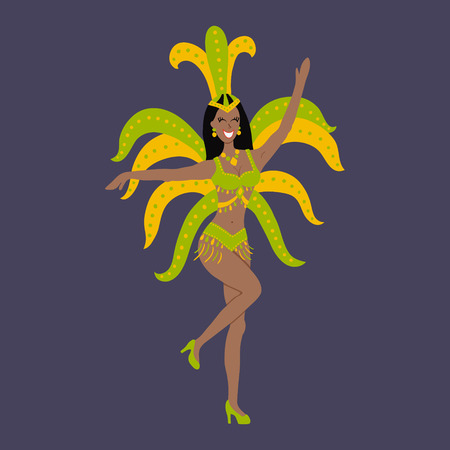 carnival costume: vector illustration of a cute dancing brazilian girl, traditional carnival costume