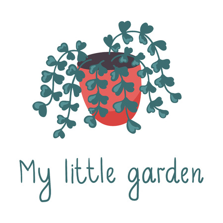vector illustration of an ivy plant in a pot with handwritten text