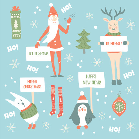 vector set of illustrations of cute animals, holding in their arms banners, Christmas items