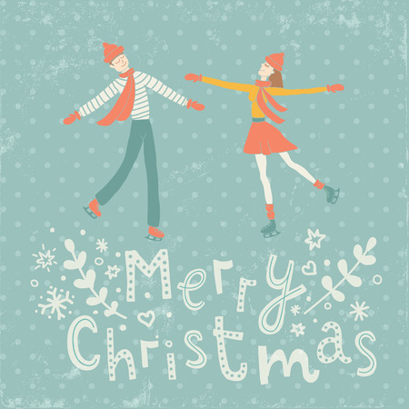 vector illustration of happy couple in love and hand lettering Merry Christmas text