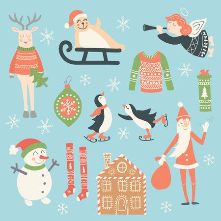 Vektor-Set von Weihnachtsillustrationen für Ihre saisonalen Projekten umfasst die beliebtesten Ferien Symbole