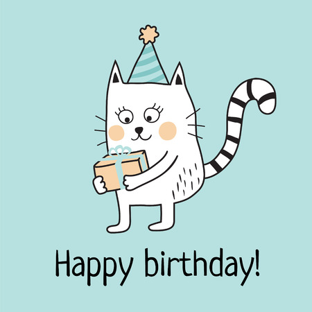 postcard box: vector template of birthday greeting card, cute kitten holding present in his paws Illustration