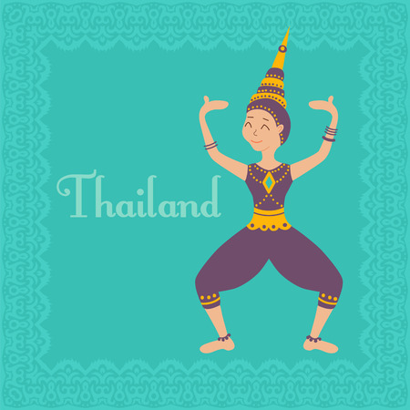 vector illustration of a girl dancing traditional thai dance in a costume Illustration