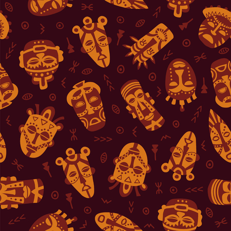 symbols: vector seamless pattern with tribal masks and symbols on dark background