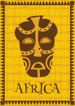 tiki head: vector illustration of an african poster - stylized mask on tribal background
