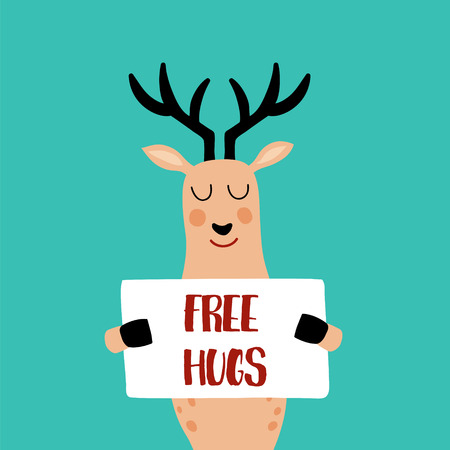 vector illustration of a cute deer with poster in his hands and free hugs text Illustration