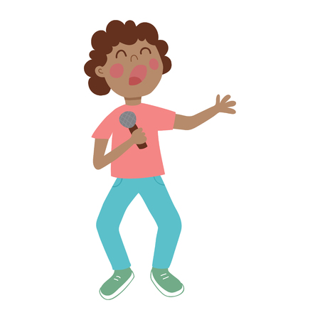 quintet: vector illustration of a cute boy singing a song with microphone in his arms