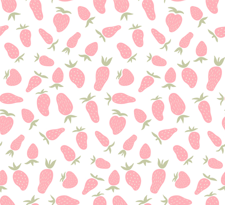 흰색 배경에 귀 엽 고 간단한 딸기와 벡터 원활한 패턴