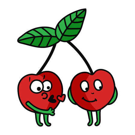 vector illustration of a cute cherries couple - man kissing a shy girl
