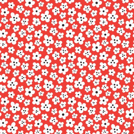 Nahtloses Muster mit niedlichen kleinen Blumen auf rotem Hintergrund
