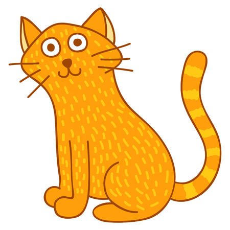 Illustration of a cite cat sitting and watching at you