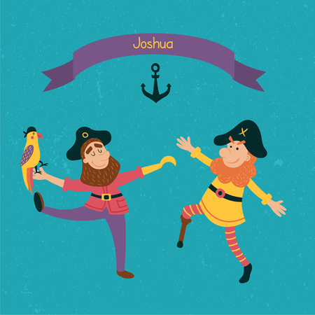 ahoy: vector template of a birtday party invitation iwth happy dancing pirates
