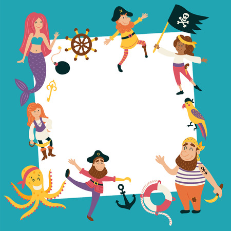 ahoy: vector template of a birthday card with images of cute pirate characters