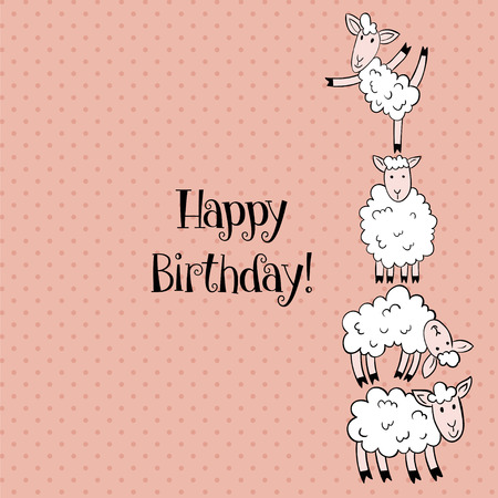 Vector Template Of Birthday Greeting Card With Funny Sheep Royalty