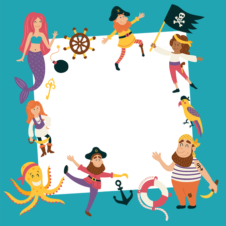 vector template of a birthday card with images of cute pirate characters