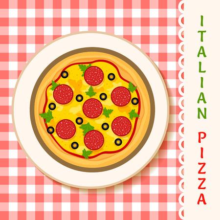 margherita: vector illustration of a salami pizza on a plate Illustration