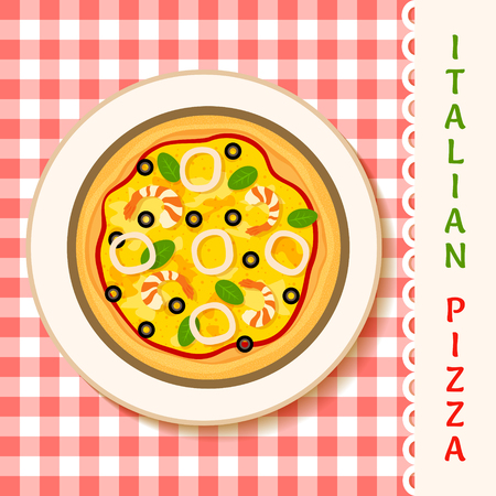 vector illustration of a seafruit pizza on a plate
