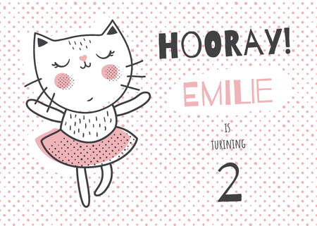 Vector template of a children birthday invitation card, cute dancing cat, horizontal orientation Illustration