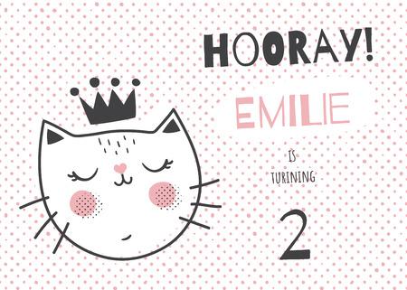 Vector La Plantilla De Una Tarjeta De Cumpleaños De Los Niños Ilustración De Un Gato Lindo En Una Corona Orientación Horizontal