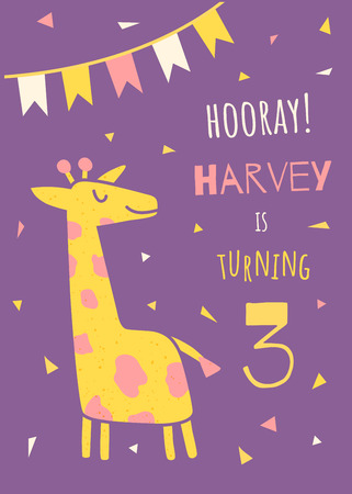 vector template of a children birthday invitation, cute giraffe, flags and text