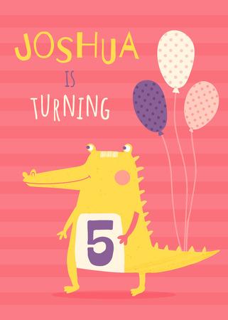 vector template of a children birthday invitation, yellow crocodile, text, striped background Illustration