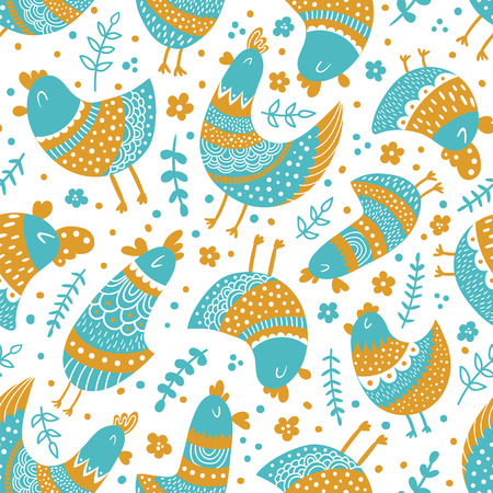 vector seamless pattern with illustration of birds, yellow and blue colors Illustration
